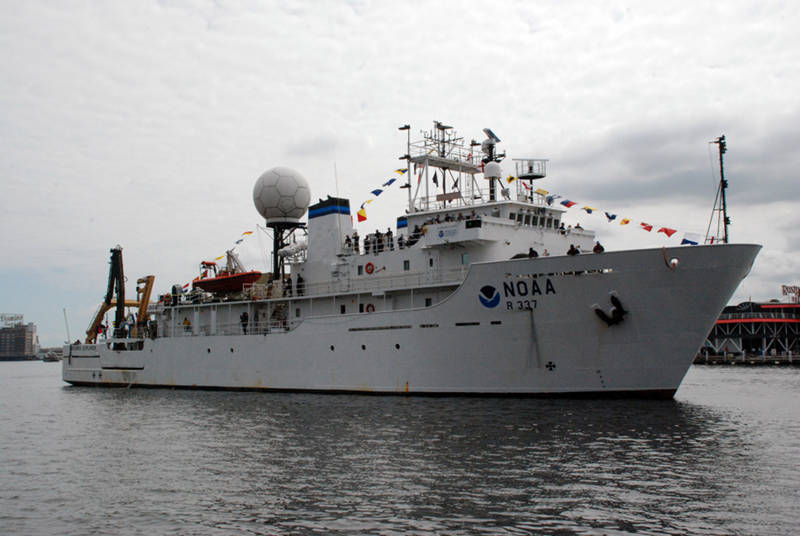 NOAA Ship Okeanos Explorer pulls into Baltimore, MD to participate in the Star Spangled Spectacular.