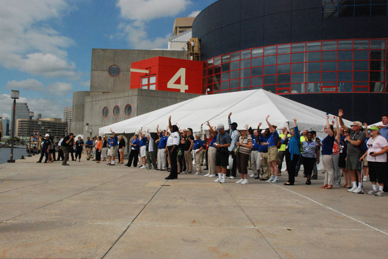 Staff at the National Aquarium welcomes Okeanos Explorer to Baltimore, MD.