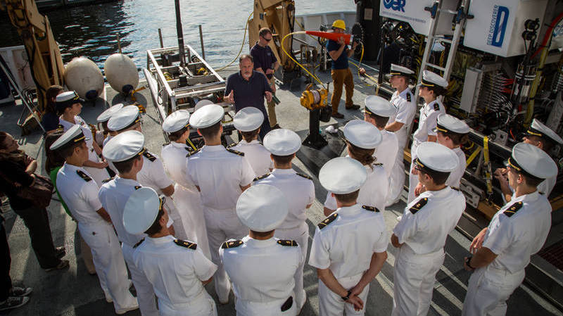 ROV team lead, Dave Lovalvo, describes operations  to a group of U.S. Naval Academy students.