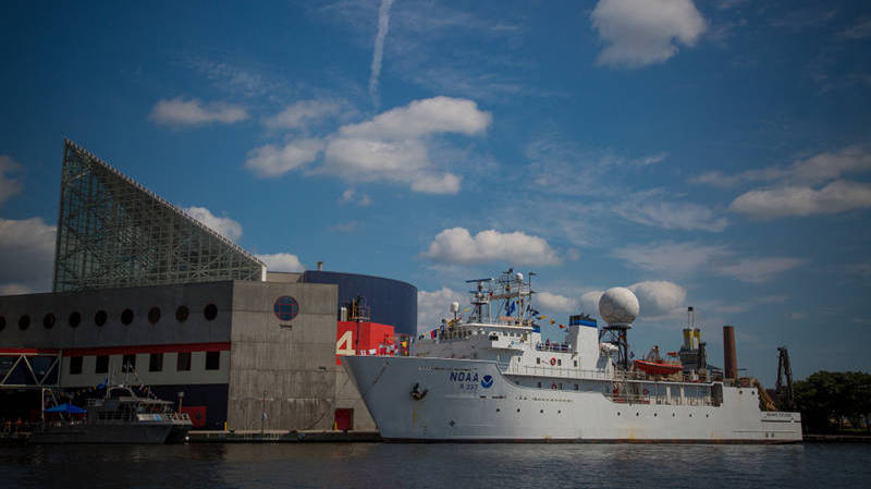 Okeanos Explorer docked at the National Aquarium during her stay in Baltimore.