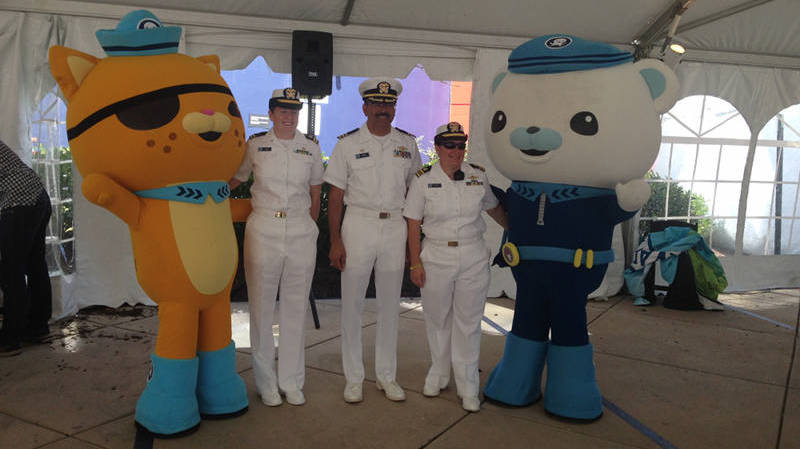 Okeanos Explorer's officers received a visit from Captain Barnacles and Kwazii when the Octonauts joined our team in Baltimore.