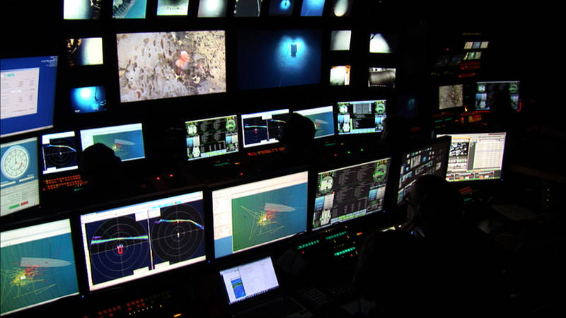 The view from the control room as Deep Discoverer collects high-resolution imagery of a deep-sea sponge.