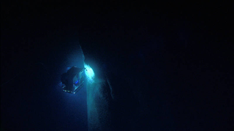 Remotely operated vehicle Deep Discoverer investigates an unexplored canyon wall.