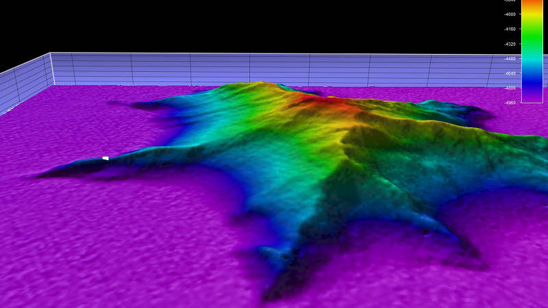 Side view, two-times vertical exaggeration, of the unnamed seamount we explored during Dive 10.