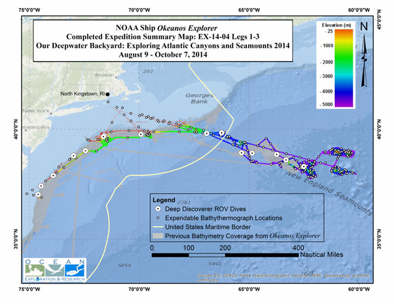 Summary map showing the approximate locations of ROV dives and collected seafloor bathymetry data.