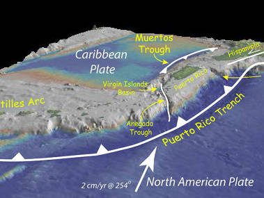 Bathymetry of the northeast corner of the Caribbean Plate showing the major faults and plate boundaries.