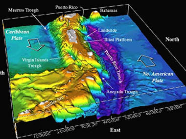 Bathymetry of the northeast corner of the Caribbean Plate, including the Puerto Rico Trench.