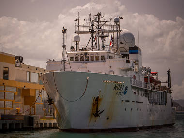 Okeanos Explorer back in port in San Juan.