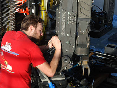 The ROV team spent time in port troubleshooting the new manipulator arm.