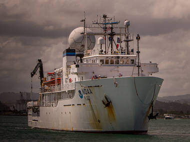 NOAA Ship Okeanos Explorer leaves San Juan, Puerto Rico, for the start of the cruise.