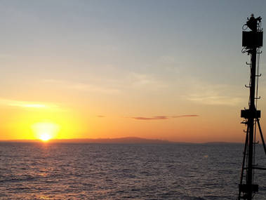 Sunrise over Puerto Rico as the ship prepares for an ROV dive.