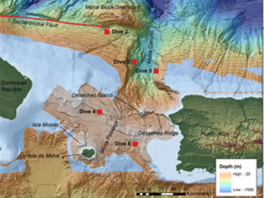Overview of Okeanos dives the Mona Passage region. The red line highlights the Septentrional Fault.