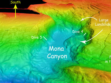 Multibeam sonar bathymetry of Mona Canyon showing large landslides.