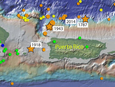 Map showing epicenters of magnitude 5 and greater earthquakes around Puerto Rico for last 100 years.
