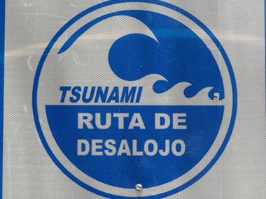 Tsunami evacuation route sign, old San Juan.