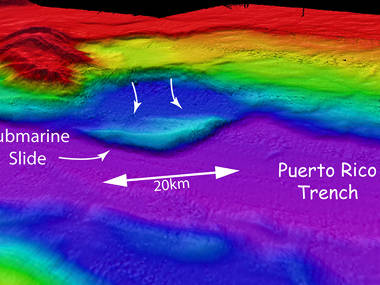 Multibeam sonar bathymetry of a large submarine slide on the northwest wall of the Puerto Rico Trench.