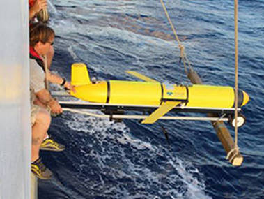 The Slocum Glider is deployed from NOAA Ship Okeanos Explorer in early March.