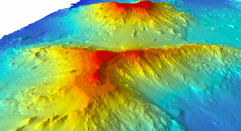 Academician Berg and Turnif seamounts in the northernmost extent of PMNM. Both are Hawaiian in origin with typical flat tops created when they were at the surface thousands of years ago.