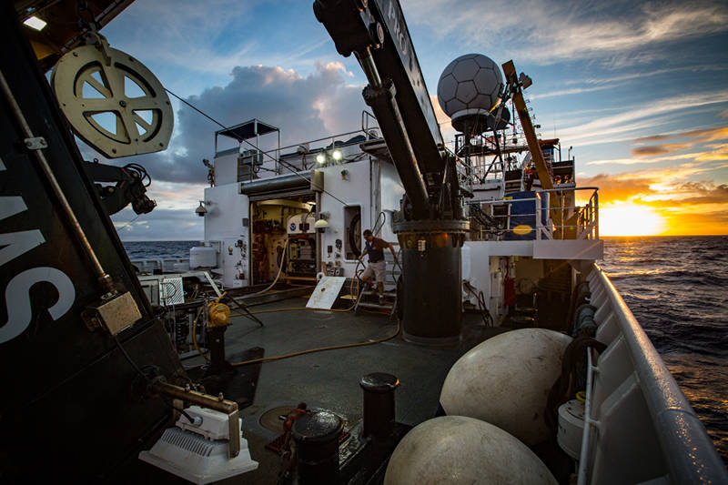 NOAA Ship Okeanos Explorer transits to Johnston Atoll—mapping its way off into the sunset