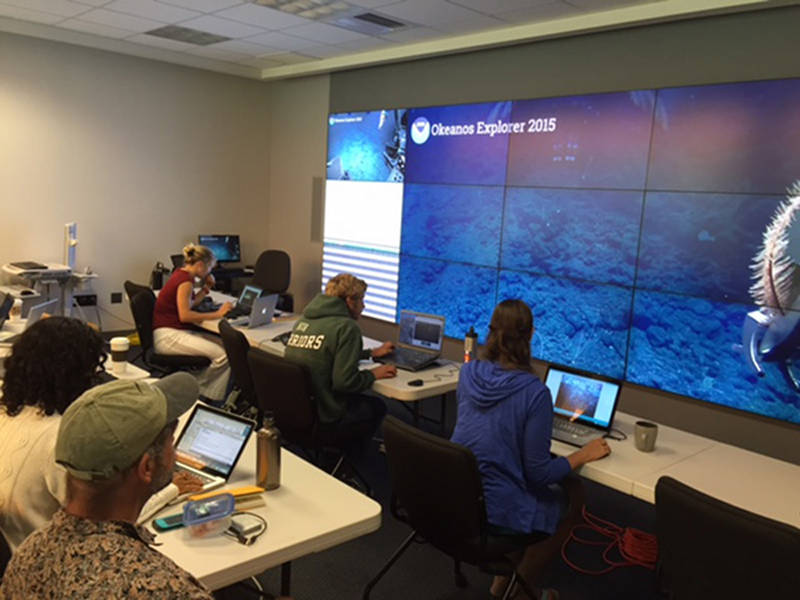 Scientists participate in the dive at the University of Hawaii Exploration Command Center via telepresence.