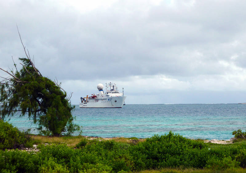 NOAA Ship Okeanos Explorer pulls into Johnston Atoll.