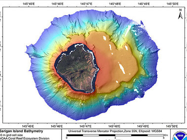 Processed multibeam bathymetric map of Sariguan Island.