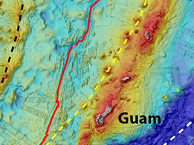 Figure 2: Map showing the locations of the Mariana Trench (white dashed line), Volcanic Arc (yellow dashed line), and back-arc spreading center (red line) and remnant arc (black dashed line).