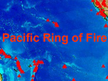 Map of the all the volcanoes around the Pacific (red triangles) making up the Ring of Fire.