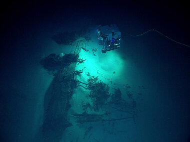ROV Deep Discoverer discovers a B-29 Superfortress resting upsidedown on the seafloor. This is the first B-29 crash site found of over a dozen American B-29s lost in the area while flying missions during World War II.