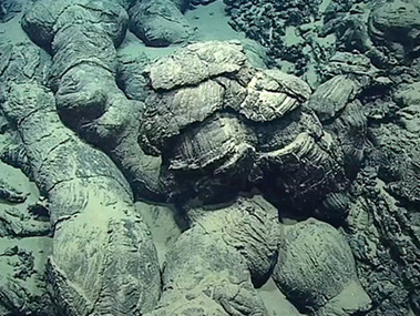 These pillow basalts, seen on Dive 6 at Fina Nagu Caldera C, form when basaltic lava erupts underwater.