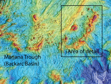 Bathymetry of the southern Mariana region.