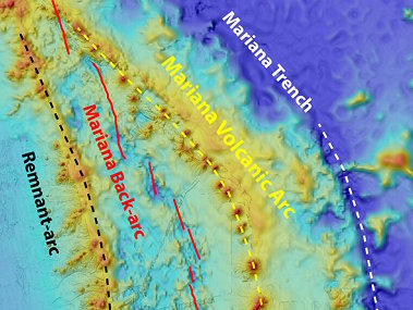 Map showing the locations of the Mariana Trench (white dashed line), Volcanic Arc (yellow dashed line), and back-arc spreading center (red line) and remnant arc (black dashed line).
