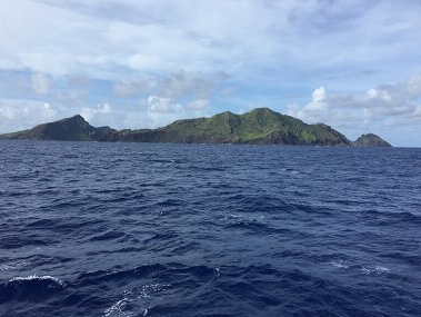 Maug, one of the volcanos within the Islands Unit of the Marianas Trench Marine National Monument, as seen from NOAA Ship Okeanos Explorer during Dive 3 of Leg 3.