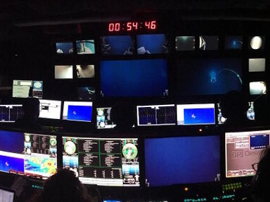 The control room during Dive 4 at Hadal Wall as ROV <em>Deep Discoverer</em> approached 6,000 meters for the first time since Puerto Rico.