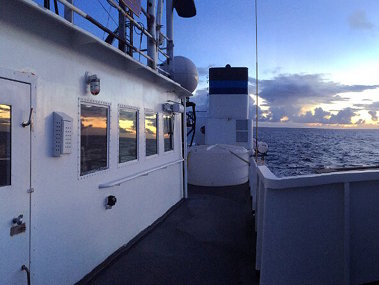 Sunrise aboard NOAA Ship Okeanos Explorer as the crew preps for another day of collecting critical baseline information in some of the most unknown areas of our ocean.