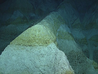 Carbonate rocks forming an Alps-like landscape on Dive 4 at Hadal Ridge.
