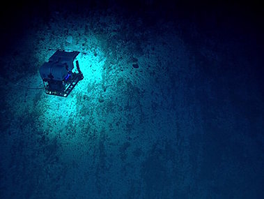 Remotely operated vehicle Deep Discoverer exploring the seamount wall on Dive 16 at Subducting Guyot 1.