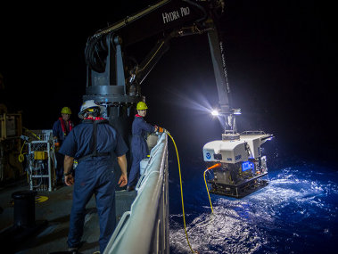 Remotely operated vehicle Deep Discoverer being recovered.