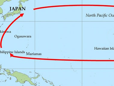 Map of the dominant currents around the Ogasawara and Mariana Islands regions.