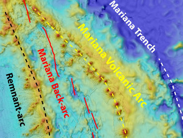 Map showing locations of ROV dives in the Mariana back-arc.