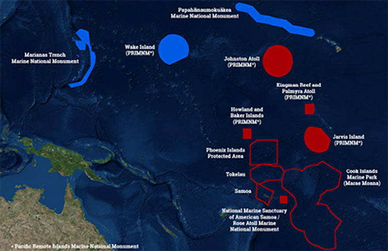 This map shows the U.S. Marine National Monuments in the Pacific Ocean (solid blue and solid red polygons) – the focus of operations for 2015-2017. The 2017 expeditions will take place in the central Pacific, focusing efforts in the vicinity of the Hawaiian archipelago the Kingman/Palmyra, Jarvis and Howland/Baker units of the Pacific Remote Islands Marine National Monument (PRIMNM), the National Marine Sanctuary of American Samoa, and the Rose Atoll Marine National Monument.