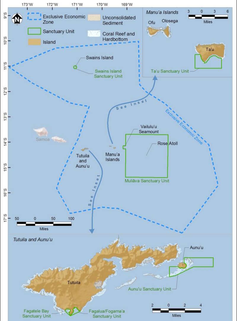 map of national marine sanctuary of american samoa