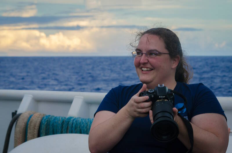 Annie White is taking still photos of the crew and staff on the Okeanos Explorer while they go about their daily tasks.