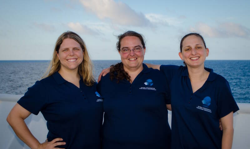 The women behind the highlight reels, Caitlin Bailey, Annie White, and Emily Narrow, onboard NOAA Ship Okeanos Explorer.