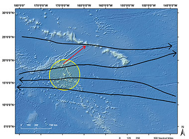 Potential dispersal routes connecting Johnston Atoll to the Hawaiian Archipelago.