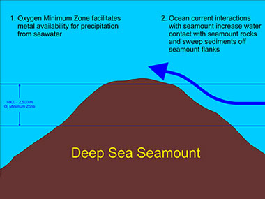 Geologists surmise the thickest and most metal-rich ferromanganese crusts are found at depths between 800 and 2,500 meters on seamount flanks and summits.