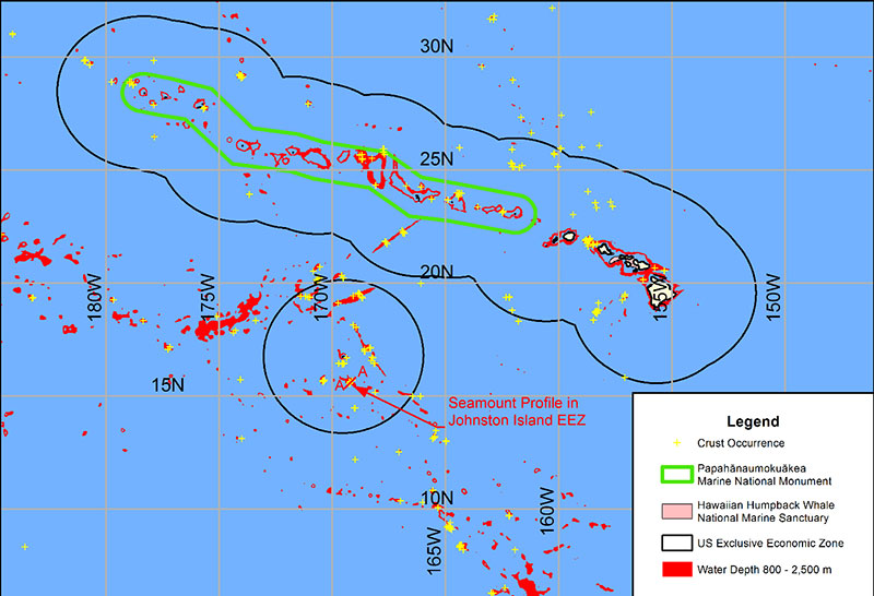 Water depths between 800 and 2,500 meters are delineated in red. This is the depth range of crusts thought to have the best economic development potential. Boundaries of the Papahānaumokuākea Marine National Monument, Hawaiian Islands Humpback Whale National Marine Sanctuary, and Johnston Atoll portion of the Pacific Remote Islands Marine National Monument are also shown.