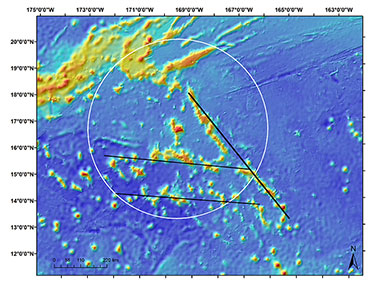 Main Line Islands seamount chain lineation (thick black line NW-SE) and two cross-trend seamount trails (thinner black lines that are E-W).