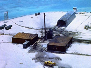 Johnston Island Launch Emplacement One (LE1) after a Thor missile launch failure and explosion contaminated the island with Plutonium during the Operation Bluegill Prime nuclear test, July, 1962.