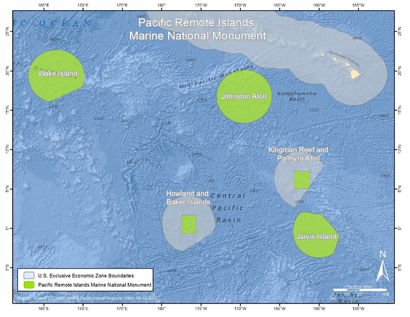 Established in January 2009 by Presidential Proclamation 8336 and expanded in 2014 by Presidential Proclamation 9173, the Pacific Remote Islands Marine National Monument consists of Wake, Baker, Howland, and Jarvis Islands; Johnston Atoll; Kingman Reef; and Palmyra Atoll, which all lie to the south and west of Hawaii. The Pacific Remote Islands Marine National Monument is one of the largest marine protected areas in the world and an important part of the most widespread collection of marine life on the planet under a single country's jurisdiction.